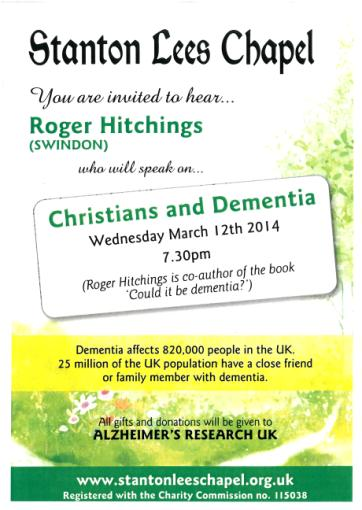 Christians & Dementia - A meeting at Stanton Lees Chapel