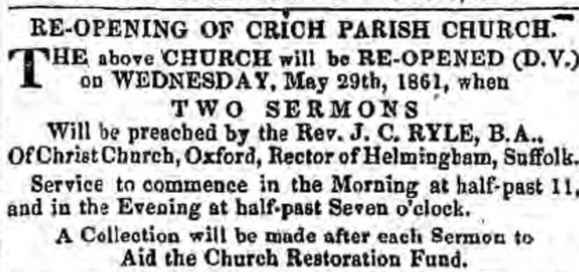 A Notice Advertisng the Visit of J. C. Ryle To Crich